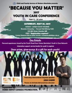 'Because You Matter' 2017 Youth in Care Conference @ Brandon University- Harvest Hall (Dining Room)